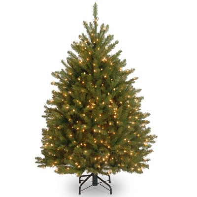 4.5ft National Christmas Tree Company Pre-Lit Dunhill Fir Hinged Artificial Christmas Tree with 450 Clear Lights