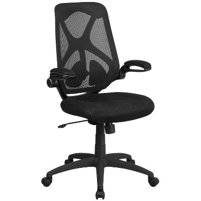 Flash Furniture High Back Black Mesh Executive Swivel Ergonomic Office Chair with Adjustable Lumbar, 2-Paddle Control and Flip-Up Arms