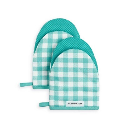 KitchenAid 2pk Cotton Gingham Mini Oven Mitts Blue