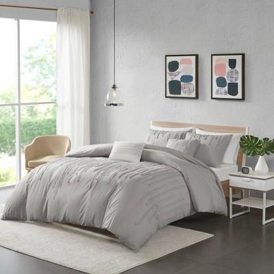 Makenna Twin/Twin Extra Long 4pc Cotton Comforter Set Gray