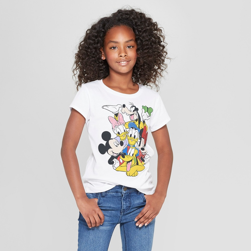 Girls' Mickey Mouse & Friends Group Short Sleeve T-Shirt - White S