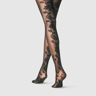 Women's Floral Back Tights - A New Day™ Black