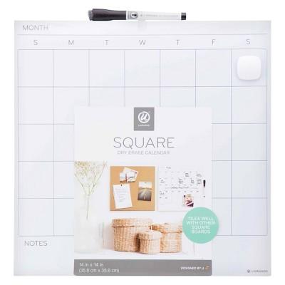 """U Brands 14"""" Square Dry Erase Calendar Board"""