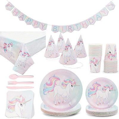 Blue Panda Rainbow Unicorn Birthday Party Kit (Serves 24)
