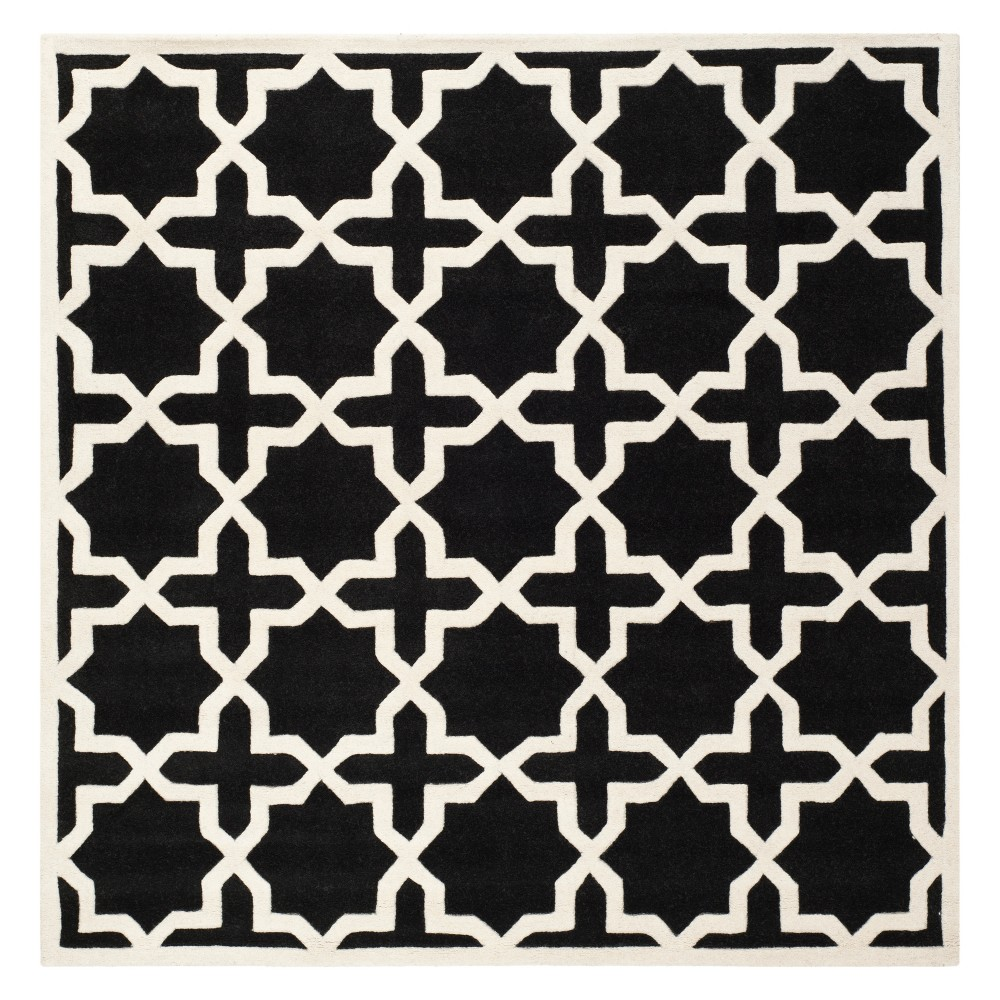 7 X7 Quatrefoil Design Tufted Square Area Rug Black Ivory Safavieh