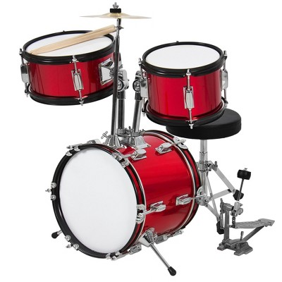 Best Choice Products Kids Beginner 3-Piece Drum, Musical Instrument Set w/ Sticks, Cushioned Stool, Drum Pedal - Red