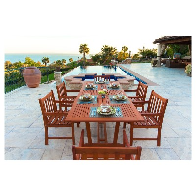 Vifah Malibu Eco Friendly 7 Piece Wood Outdoor Dining Set With Rectangular  Extension   Brown : Target