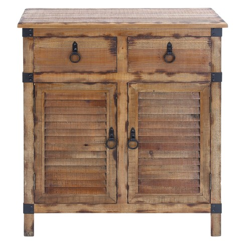 Magnificent Wood Louvered Door Cabinet Buffet Brown Black Olivia May Download Free Architecture Designs Scobabritishbridgeorg
