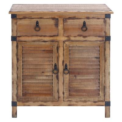 Wood Louvered Door Cabinet Buffet Brown/Black   Olivia U0026 May