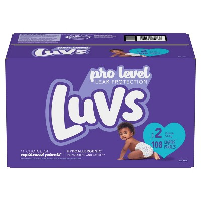 Luvs Pro Level Leak Protection Diapers Big Pack - Size 2 - 108ct