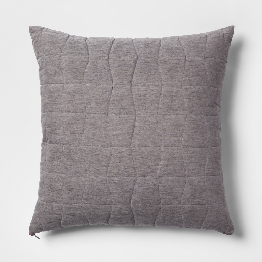Quilted Geo Oversize Square Throw Pillow Gray - Project 62