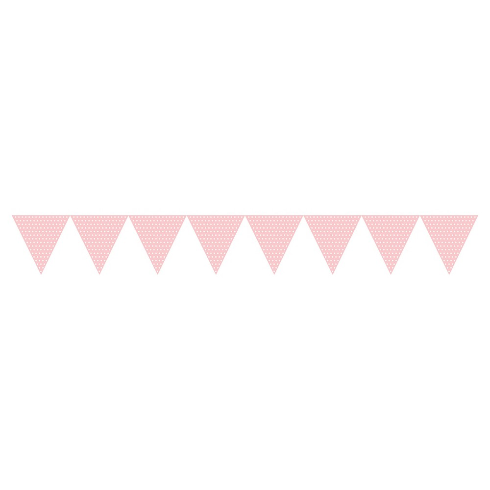 Image of 1ct Classic Pink Polka Dot Paper Flag Banner