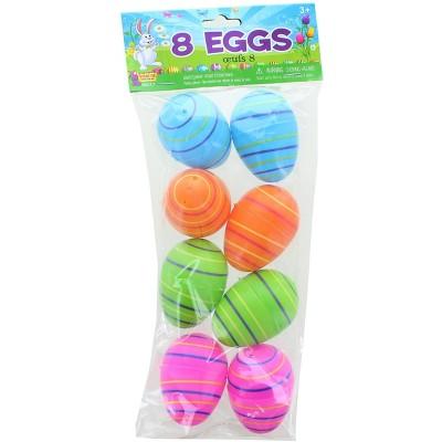 Forum Novelties Solid Color 2.25 Inch Plastic Easter Eggs | Pack of 8