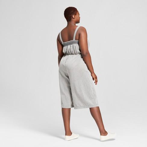 9f07ef9928c16 Women s Plus Size Striped Smocked Jumpsuit -...   Target