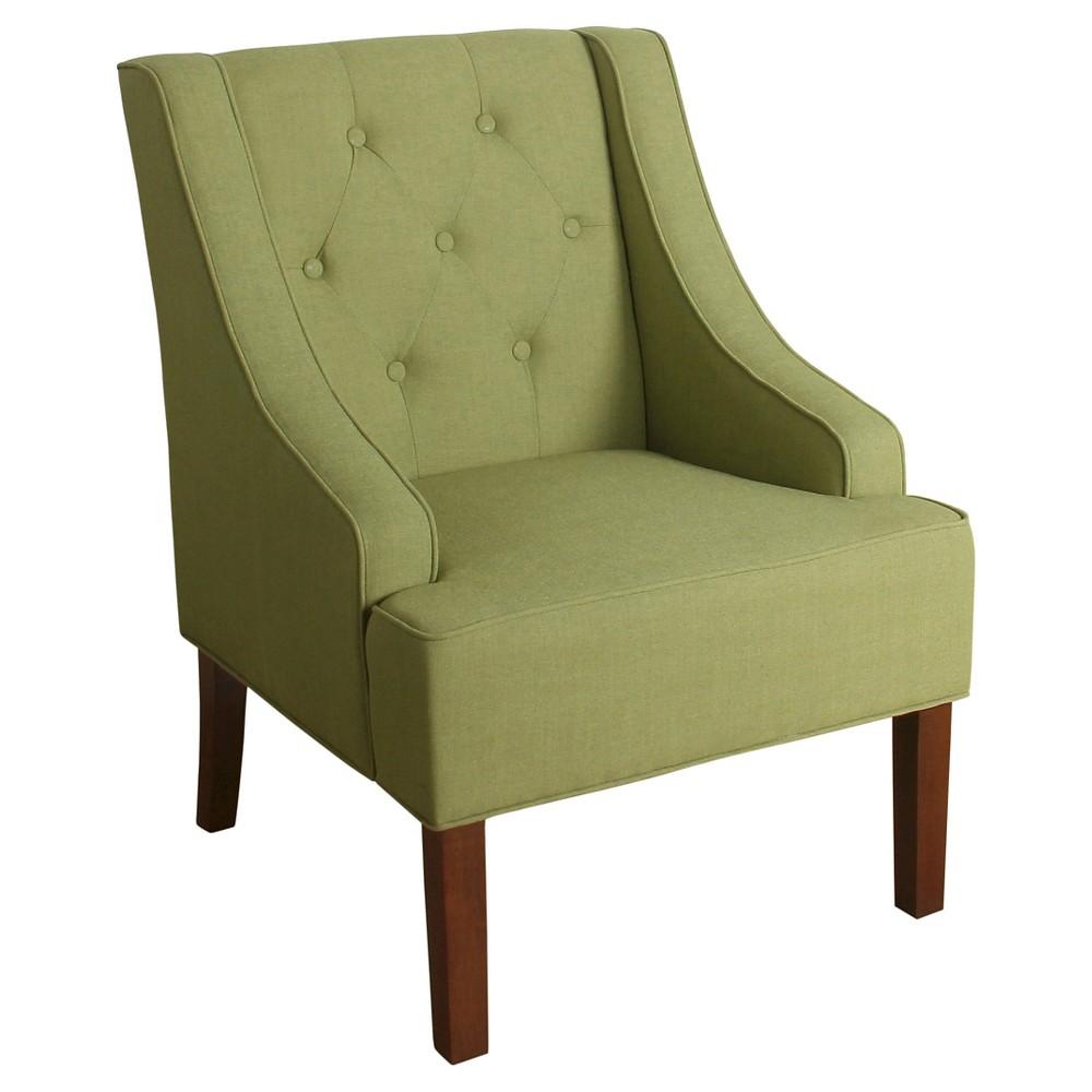 Kate Tufted Swoop Arm Accent Chair - Garden Green - HomePop, Fresh Garden