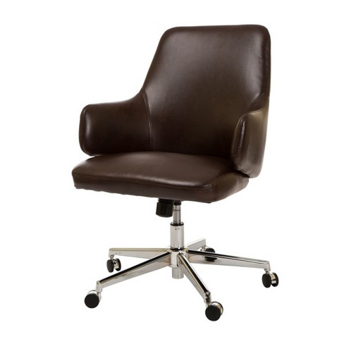 MidCentury Modern Bonded Leather Gaslift Adjustable Swivel Office Chair Coffee - Glitzhome - image 1 of 12
