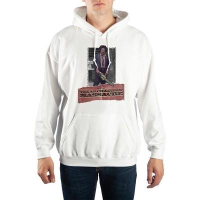 Mens White Texas Chainsaw Massacre Horror Movie Hooded Sweatshirt
