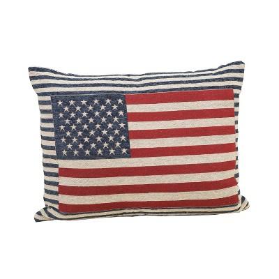 Gerson International 24-Inch Long Jacquard Patriotic Flag Throw Pillow