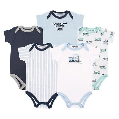 Hudson Baby Baby Boys' 5 Pack Bodysuits - Train 0-3M