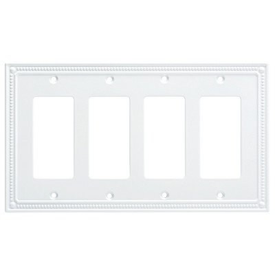 Franklin Brass Classic Beaded Quad Decorator Wall Plate White