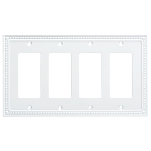 Classic Beaded Quad Decorator Wall Plate White - Franklin Brass - image 1 of 3