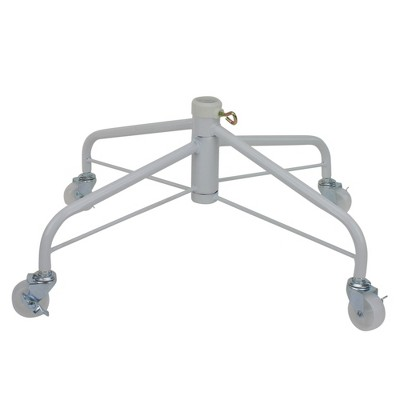 Northlight White Metal Rolling Christmas Tree Stand for 6.5'-7.5' Artificial Trees