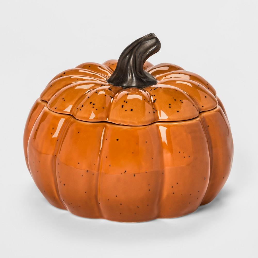 67.2oz Stoneware Pumpkin Serving Bowl With Lid Orange - Threshold