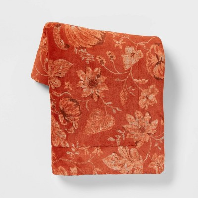 Pumpkin Printed Plush Throw Blanket with Sherpa Reverse Orange - Threshold™
