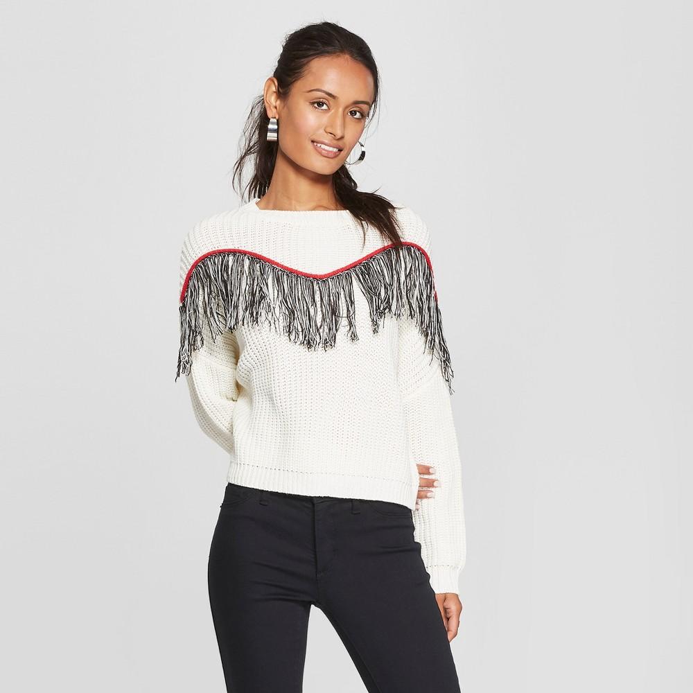 Women's Long Sleeve Fringe Trim Pullover Sweater - 3Hearts (Juniors') Ivory S, White