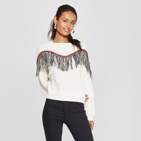 Womens Long Sleeve Fringe Trim Pullover Sweater 3hearts Juniors