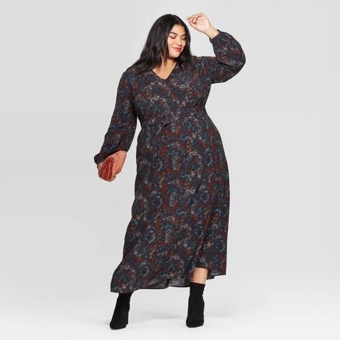 Women\'s Plus Size Floral Print Long Sleeve V-Neck Button Front Maxi Dress -  Ava & Viv™ Multi-Color