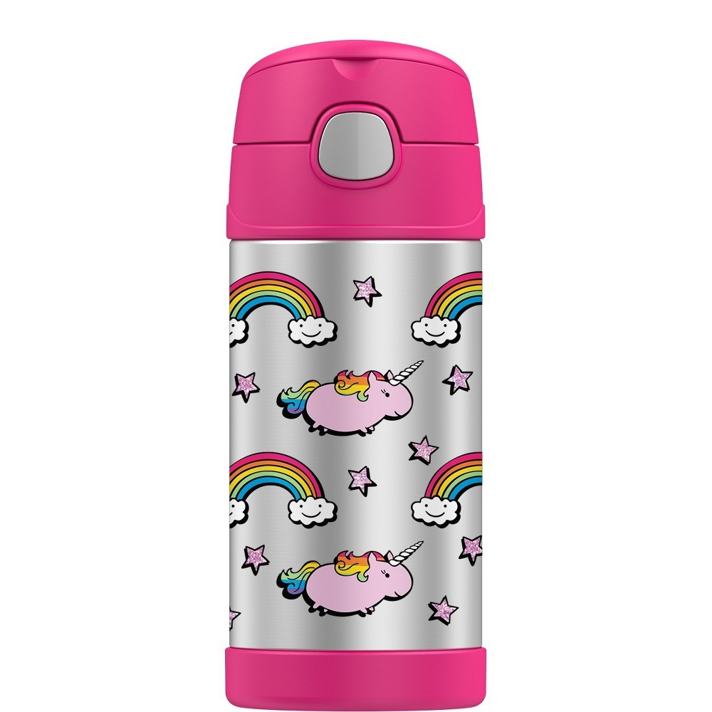 Thermos 12oz FUNtainer Bottle - Unicorns, Pink