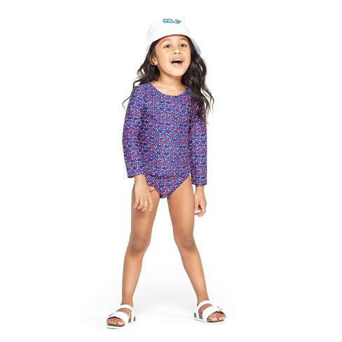2aa3f6c1e20a9 Toddler Girls' America Whales Two Piece Rash Guard Set - Red/Blue - vineyard  vines® for Target