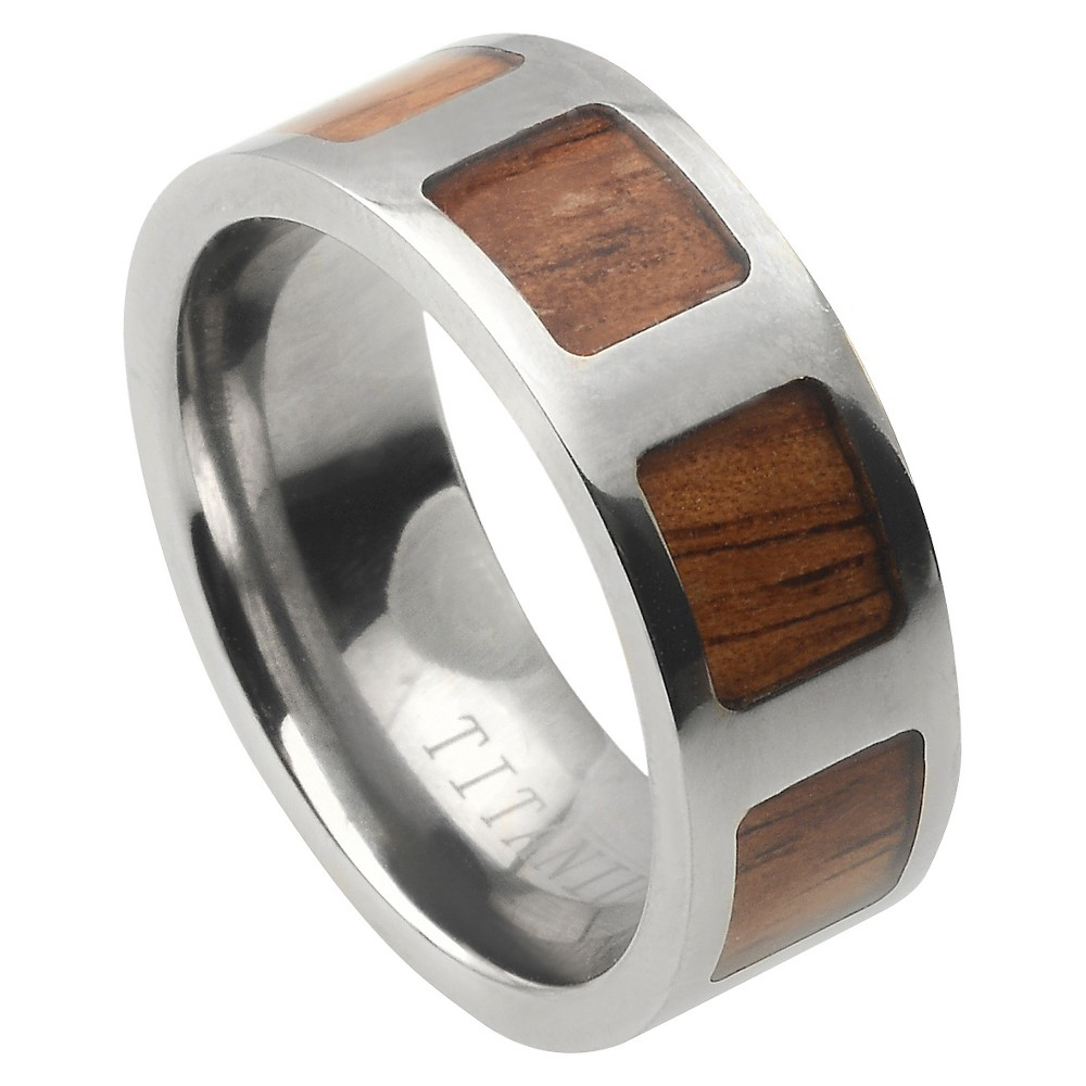 Men's Daxx Titanium Band with Wood Inlay Panel - Brown/Silver (12) (8mm)
