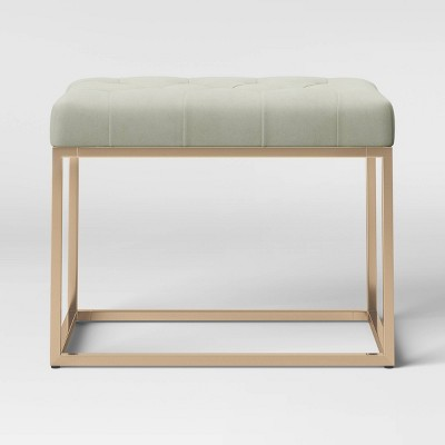 Trubeck Tufted Metal Base Ottoman Gray Velvet with Brass - Project 62™