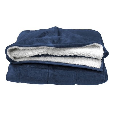 10lbs Hooded Reversible Weighted Throw Blanket Navy - Pur Serenity