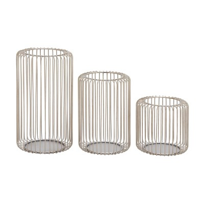 Set of 3 Iron Candle Holders Silver - Olivia & May