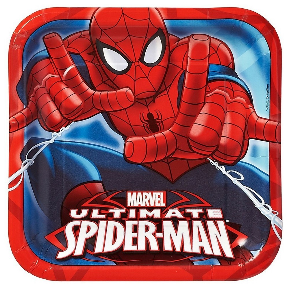 Spider-Man Square Disposable Plates - 8ct, Multi-Colored