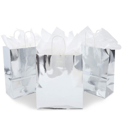 Sparkle and Bash 15-Pack Medium Metallic Silver Foil Paper Gift Bags with Handles & Tissue Papers 10 x 8 x 4 in