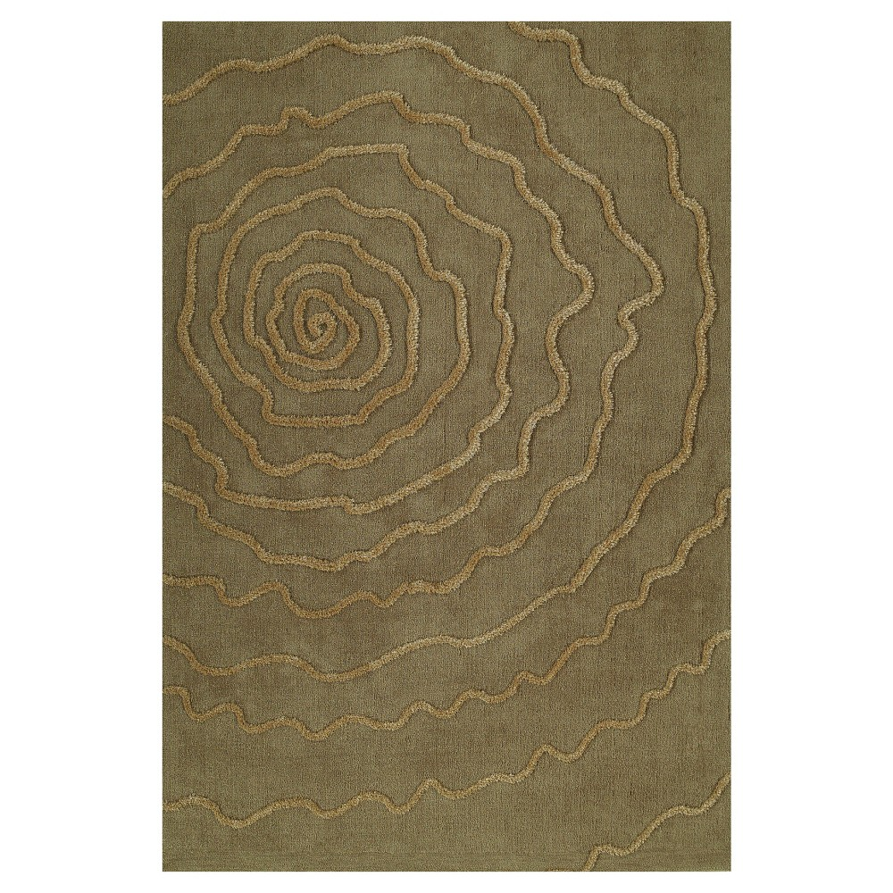 Sand (Brown) Swirl Tufted Accent Rug 3'6
