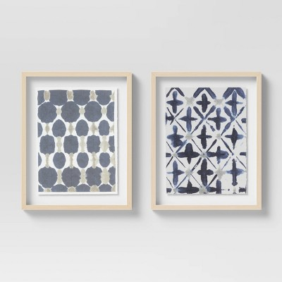 """(Set of 2)16"""" x 20"""" Droplets & Cross Diagonal Patterns Floating Shadowbox with Deckled Edge - Opalhouse™"""