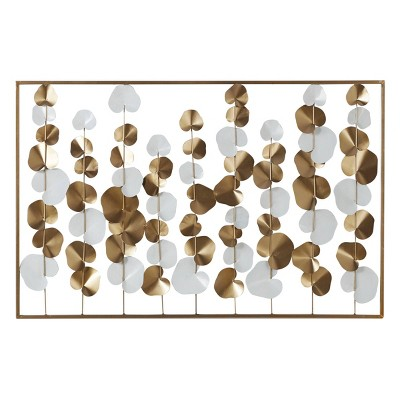 "40"" x 26"" Large Metal Rectangular Wall Decor White/Gold - Olivia & May"