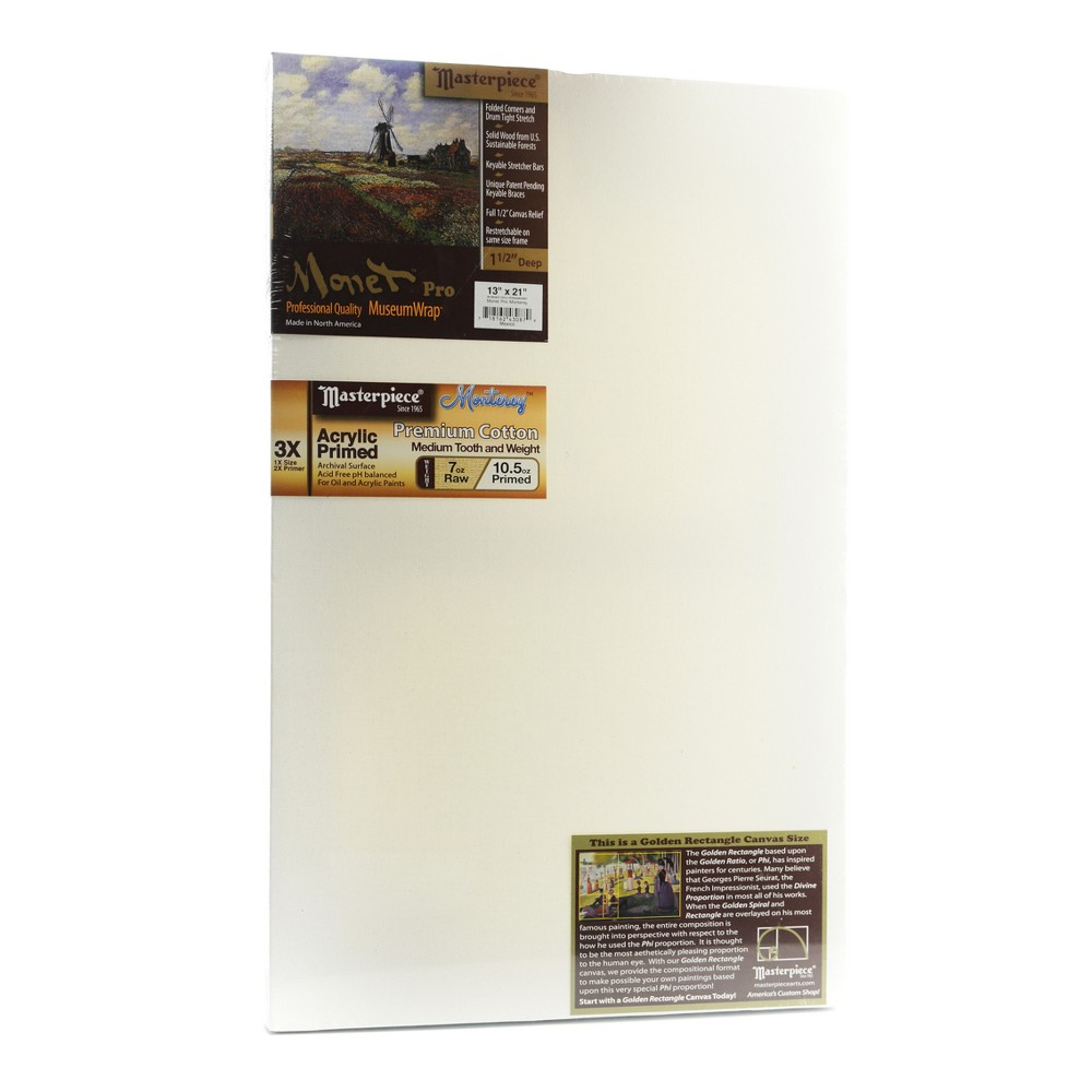 Masterpiece Monet Pro Stretched Cotton Canvas, Golden Rectangle, 13x21, White