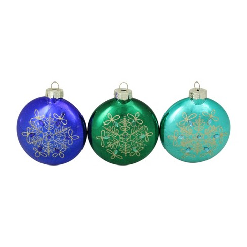 Northlight 3ct Glitter Snowflake Glass Disk Christmas Ornament Set 4 75 Blue Green