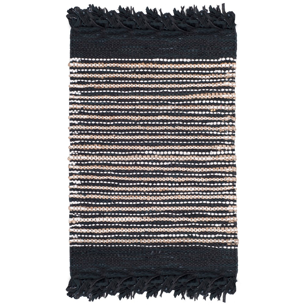 2'3X6' Woven Stripe Runner Rug Black - Safavieh, Black/Multi-Colored