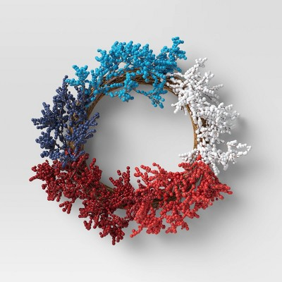 """17"""" Ombre Berry Wreath Blue/Red - Sun Squad™"""