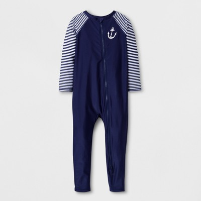 Baby Long Sleeve Anchor Full Zip One Piece Swimsuit - Cat & Jack™ Navy 9M