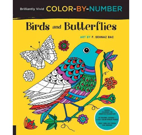 Birds and Butterflies : Guided Coloring for Creative Relaxation: 30 Original Designs + 4 Full-Color - image 1 of 1
