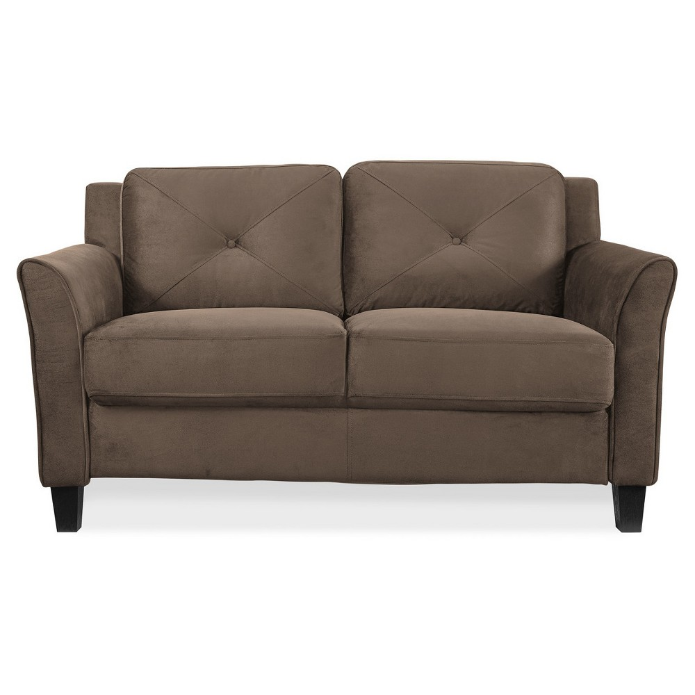 Astrid Tufted Microfiber Loveseat with Curved Arm in Brown - Lifestyle Solutions, B
