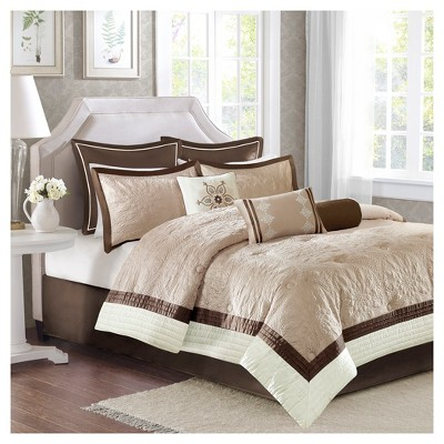 Beige Camila Quilted Comforter Set (King)9pc